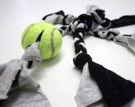 DIY Tennis Ball T-Shirt Dog Tug Toy